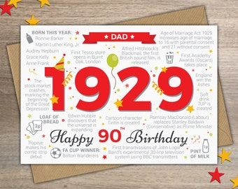 Happy 90th Birthday DAD Greetings Card