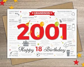 Happy 18th Birthday GRANDSON Greetings Card