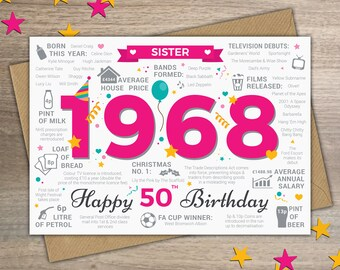 Happy 50th Birthday SISTER Greetings Card