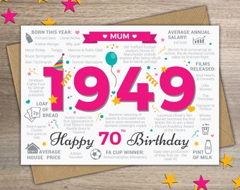 Happy 70th Birthday MUM Greetings Card