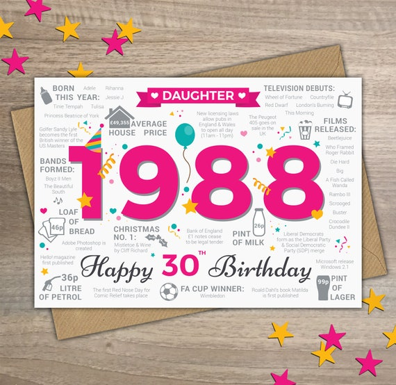 Happy 30th Birthday DAUGHTER Greetings Card Born In 1988