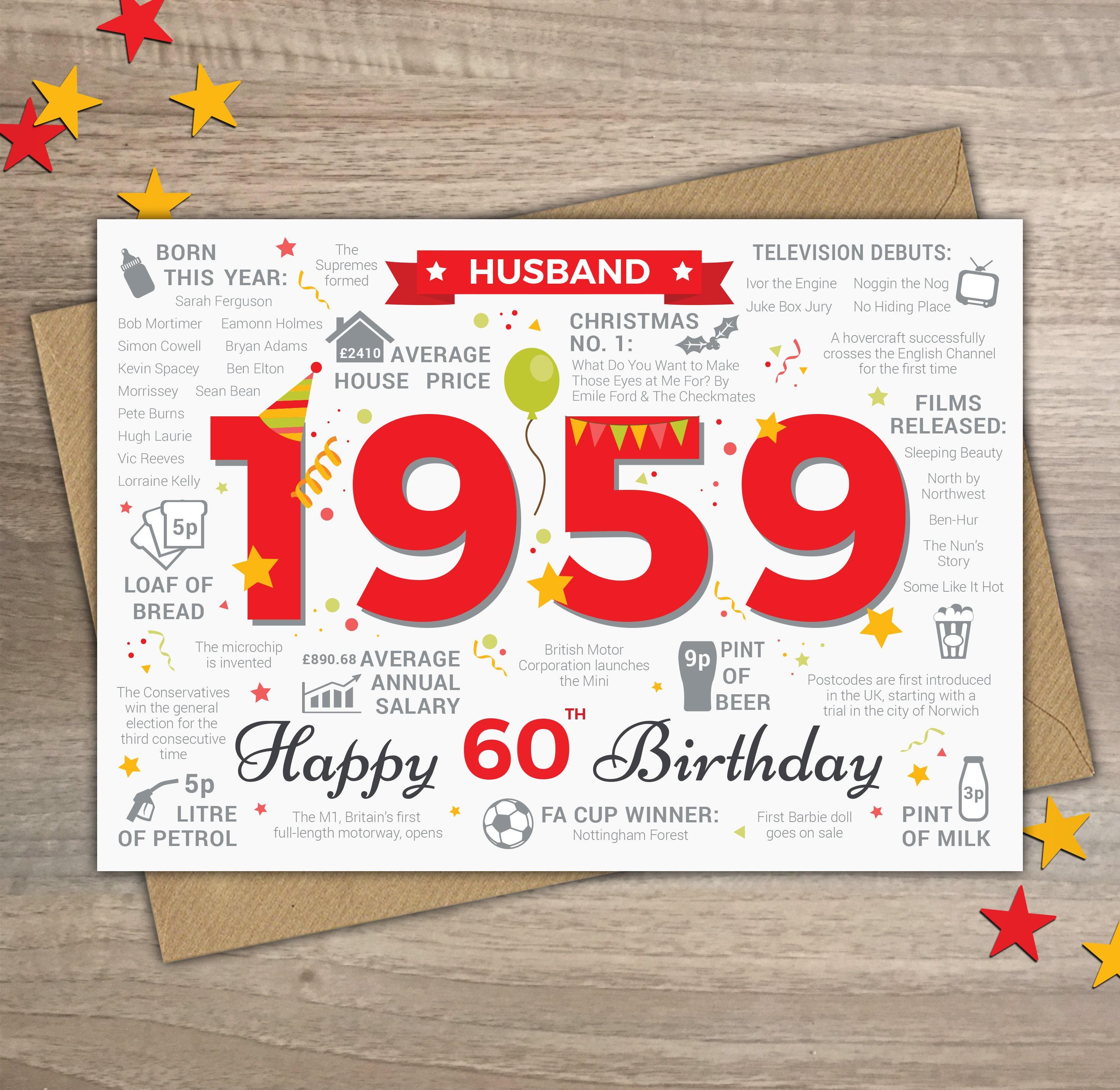 Happy 60th Birthday HUSBAND Greetings Card Born In 1959 Year