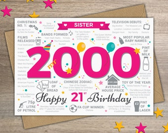 Happy 21st Birthday SISTER Greetings Card - Born In 2000 Year of Birth British Facts / Memories - Pink