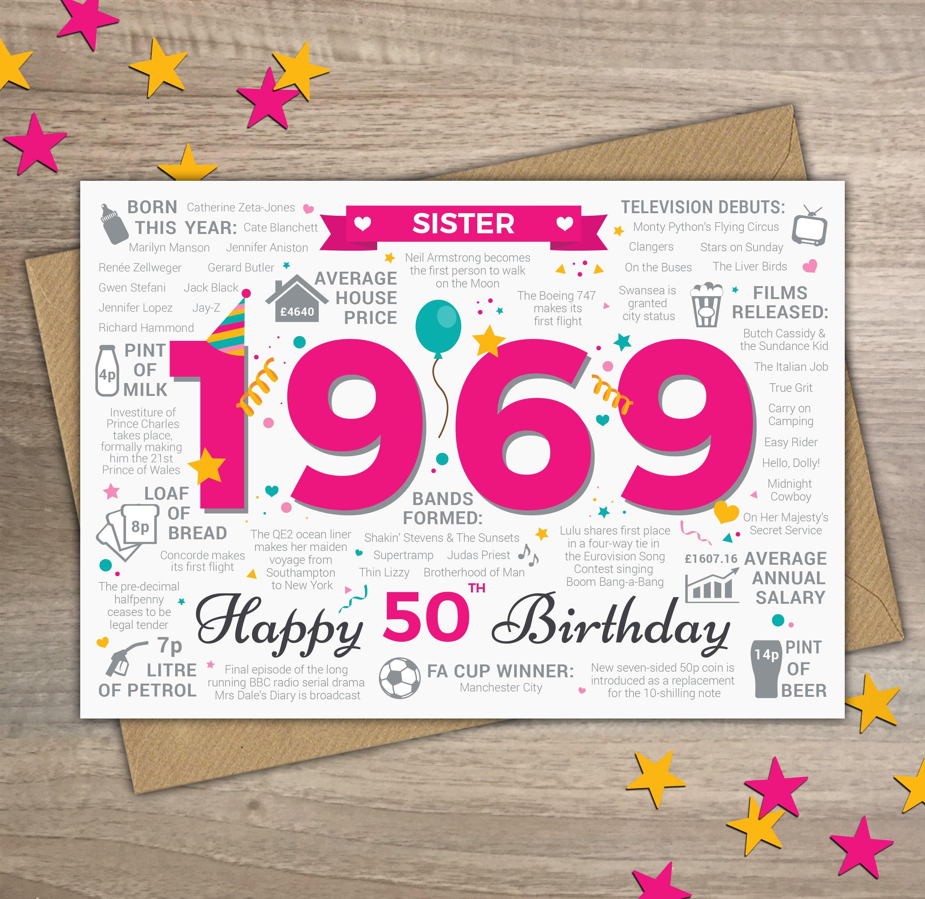 Happy 50th Birthday SISTER Greetings Card Born In 1969 Year