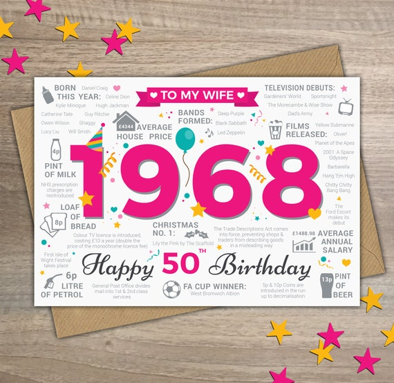 Happy 50th Birthday Wife Greetings Card Born In 1968 Year Of Etsy