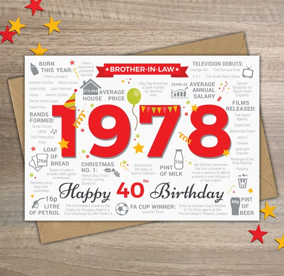 happy 40th birthday brother in law greetings card born in etsy