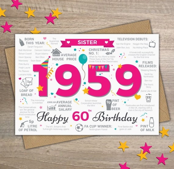 Happy 60th Birthday SISTER Greetings Card Born In 1959