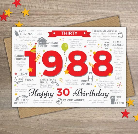Happy 30th birthday male mens thirty greetings card born etsy image 0 m4hsunfo