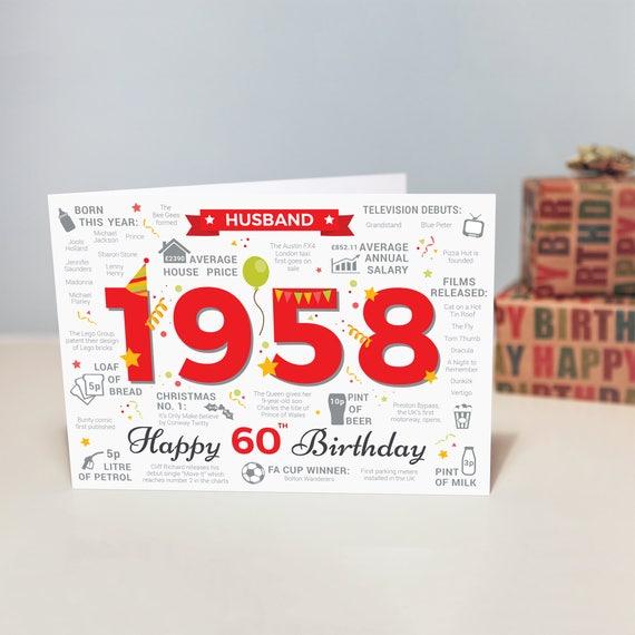 Happy 60th Birthday HUSBAND Greetings Card Born In 1958 Year