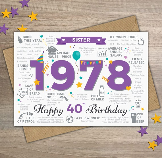 Happy 40th Birthday Sister Greetings Card Born In 1978 Year Etsy