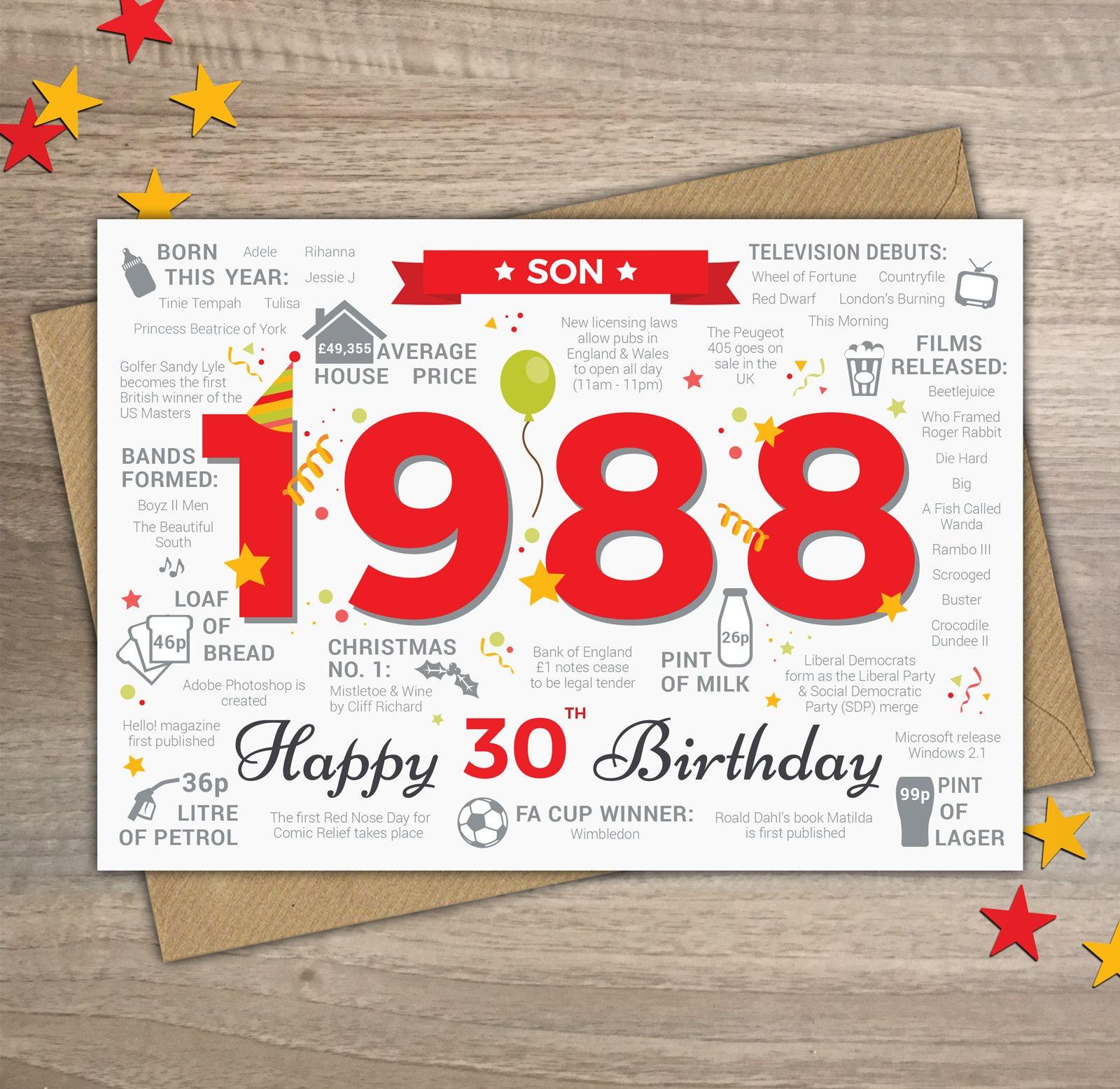 Happy 30th Birthday Son Greetings Card Born In 1988 Year Of Etsy
