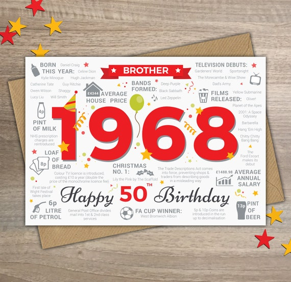 Happy 50th Birthday Brother Greetings Card Born In 1968 Year Etsy