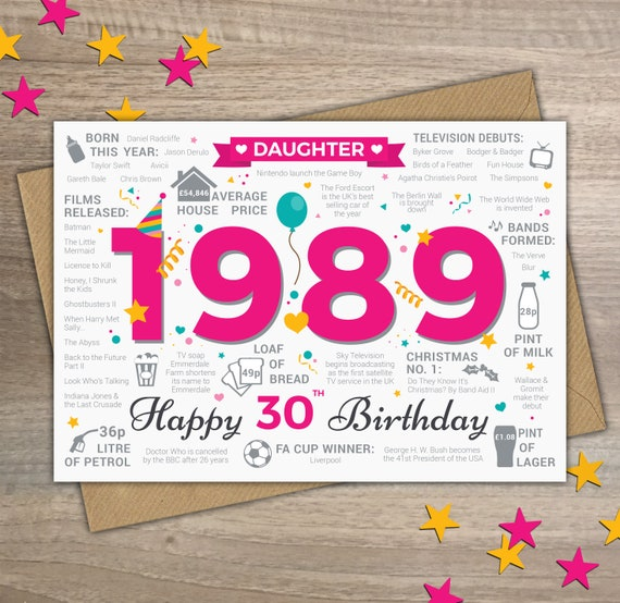 Happy 30th Birthday DAUGHTER Greetings Card Born In 1989