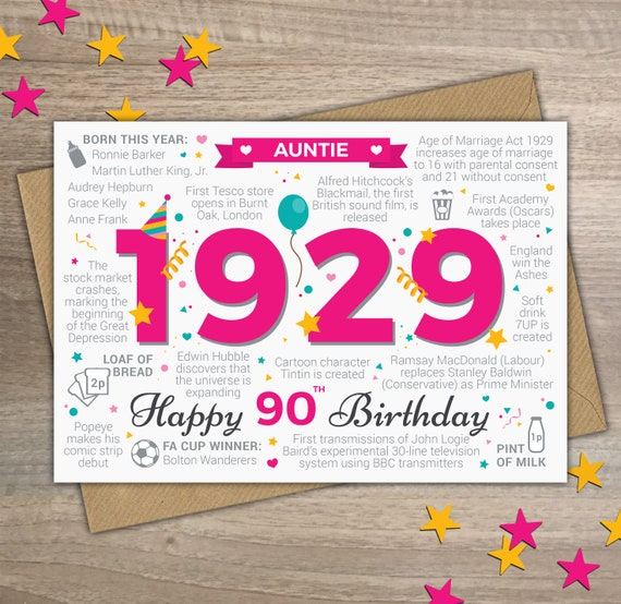 Happy 90th Birthday AUNTIE Greetings Card Born In 1929