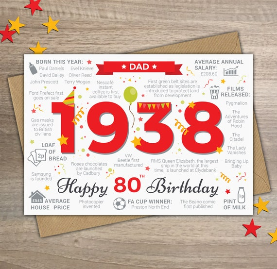 Happy 80th Birthday Dad Greetings Card Born In 1938 British Etsy
