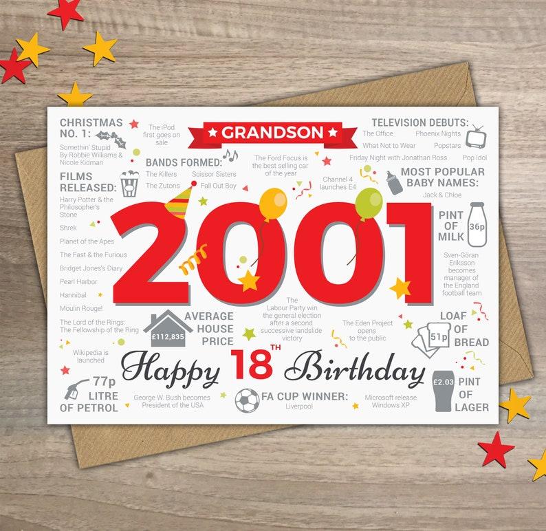 Happy 18th Birthday GRANDSON Greetings Card Born In 2001