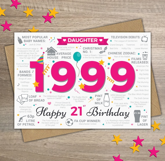 Happy 21st Birthday Daughter Greetings Card Born In 1999 Etsy
