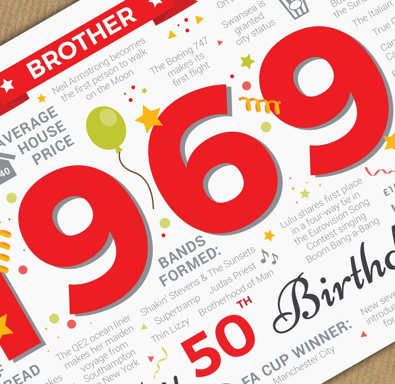 Happy 50th Birthday BROTHER Greetings Card Born In 1969 Year