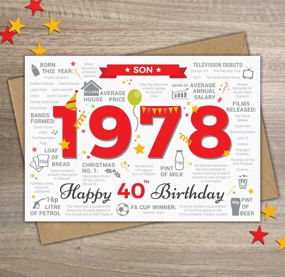 happy 40th birthday son greetings card born in 1978 year of etsy