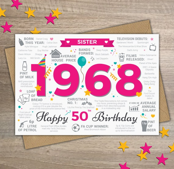 Happy 50th Birthday SISTER Greetings Card Born In 1968 Year