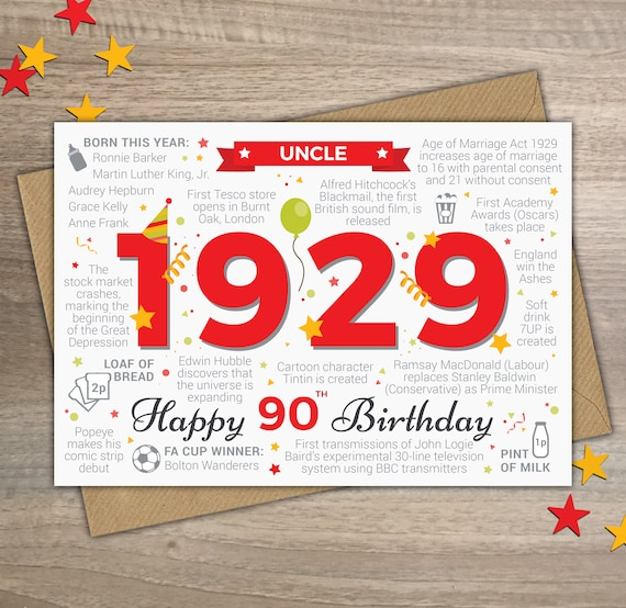 Happy 90th Birthday UNCLE Greetings Card Born In 1929 Year