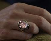 Elizabeth Morganite filigree ring - made in bronze or sterling silver