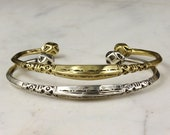 Tuareg Gold Or Silver Engraved Bracelet - African Style - Open Back Cuff