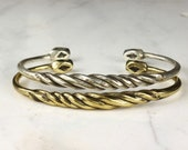 Twist Gold Or Silver Engraved Bracelet - African jewelry - Open Back Cuff