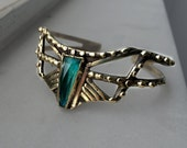The Arrow cuff - faceted Chrysocolla stone cuff in bronze