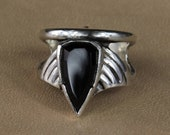 Arrow Ring - Faceted Black Onyx Ring set on solid sterling silver