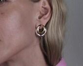 Drop ear jackets in bronze and silver for pierced ears - silver ear post minimal geometric jewelry