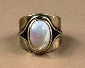 Juno Mother of Pearls Ring made in solid bronze or sterling silver - Made To Order