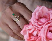 Anchor gold delicate ring with green agate stone - yellow bronze or sterling silver