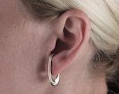 Theta one piece lobe earring made in solid bronze-for pierced ears - minimal geometric jewelry