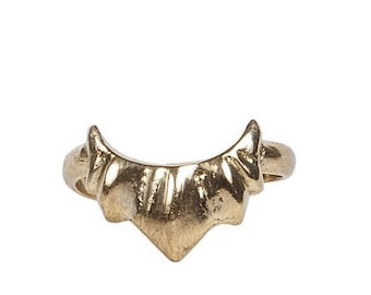 Gold Sun Handcarved Ring - tribal Style Jewelry- Made In Solid Yellow Bronze