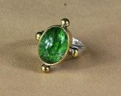 Dioptase Crystal Ring