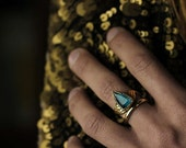 Arrow Ring - Faceted Blue Apatite Ring set on solid yellow bronze