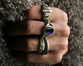Amethyst cabochon crystal handcarved statement sterling silver ring- Men and Women