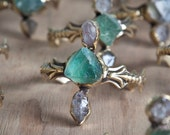 Raw fluorite and herkimer diamond crystals statement gold cuff retro antique boho Vintage style adjustable -made to order