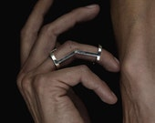 Articulated Minimalist geometric Jointed armor ring in sterling silver- adjustable