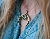 Green Agate Stone Crystal Crescent Moon Necklace - Witch Boho Gold Necklace In Bronze - Made To Order