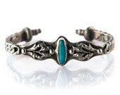 Turquoise Silver retro vintage style cuff adjustable - made to order