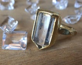 Raw white quartz crystal statement antique gold witch ring - bronze