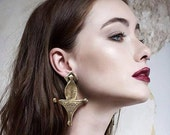Ethnic moroccan style Silver or gold engraved earrings boho antique style