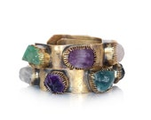 Raw crystal stones cuff boho style in solid bronze -made to order