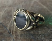 Blossom Black Onyx Stone Ring - Solid bronze ring-unisex- Made To Order