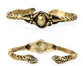 Forbidden Blossom - Handcarved gold Snake Art Nouveau Medieval Cuff- Made In Solid bronze