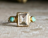 Turquoise and Emerald cut Clear Quartz  in sterling silver and gold vintage style  ring-made to order