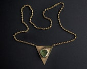 Raw Crystal fluorite triangle boho antique style gold necklace, bronze - made to order