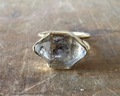 Raw black phantom Herkimer Quartz crystal antique gold witch ring - bronze -made to order